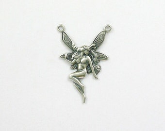 Sterling Silver 2 Ring Fairy Charm