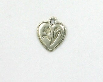 Sterling Silver Tulip Heart Charm - hlw38