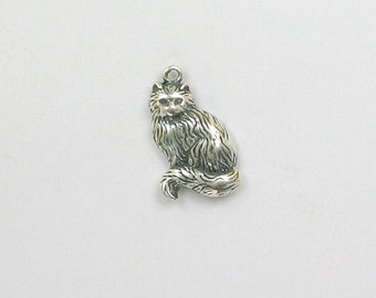 Sterling Silver Long Haired Cat Charm - dc57