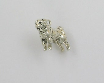 Sterling Silver 3D Pug Charm - dc63