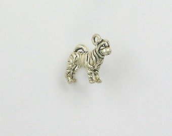 Sterling Silver 3D Sharpei Charm - dc116