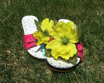 Dr. Scholl's Exercise Sandal (Size 10) Hand Painted. Pink Adjustable Strap Embellished with Lime Green Flower. Black and White Clog Shoe