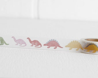 Dinosaur Washi Tape, Stegosaurus T Rex Brontosaurus Jurassic Party 15mm