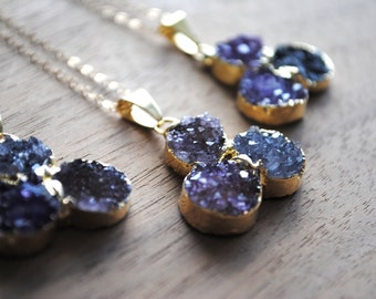 "Raw Gold Druzy Necklace - Gold Dipped with 18"" Delicate 14k Gold Filled Chain, Drusy Necklace, Triple Druzy, Amethyst Druzy Necklace"