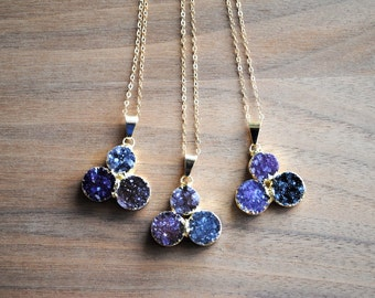 """Raw Gold Druzy Necklace - Gold Dipped with 18"""" Delicate 14k Gold Filled Chain, Drusy Necklace, Triple Druzy, Amethyst Druzy Necklace"""