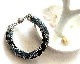 Denim bracelet bracelet beaded crochet bracelet Beads Bracelet beadwork jewelry beadwork Jewelry Bead crochet