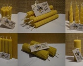 Bundle of 1,2,4,8,16,40  Hand Rolled Handmade Pure Beeswax Candles