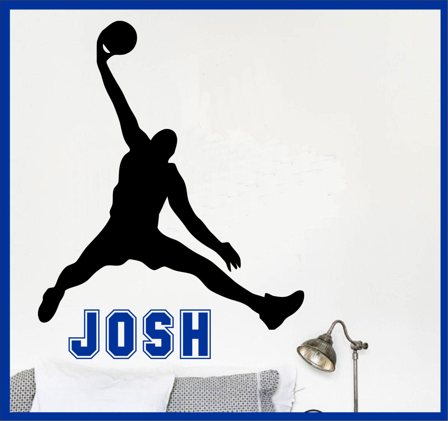 Basketball Name Wall Decal Michael Jordan Wall Decal - Boys Name Decal Kids  Room Decor name sticker