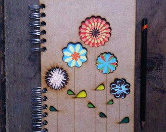 A5 recycled notebook Flowers