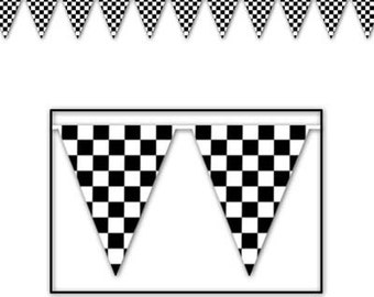Checkered Flag Pennant Banner party supplies decorations birthday party supplies racing