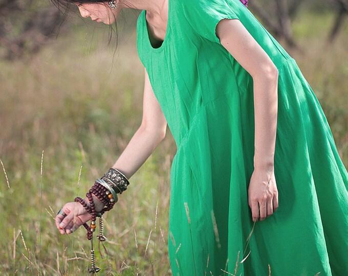 Women dress - Short sleeve dress - Pleated Dress - Summer/autumn dress - Linen dress - Made to order