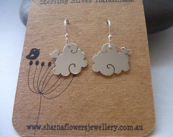 Sterling Silver bird sitting on a cloud Earrings.