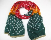 Multicolored scarf/ tie and dye scarf/ cotton scarf / lace scarf/ large scarf / scarf/   gift ideas.