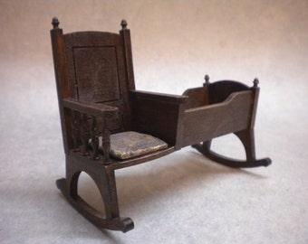 One Inch Doll House Nursery Chair Cradle, Crib, Cot Historic, Tudor