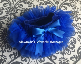 ROYAL BLUE TUTU Bloomer, chiffon ruffle diaper cover, newborn ruffle all around bloomer, several colors to chose from-ready to ship!