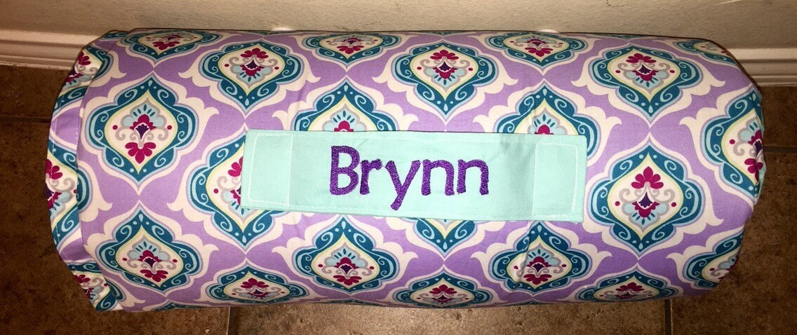 Personalized Preschool Kinder Nap Mat In Teal And Purple