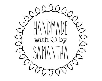 "CUSTOM HANDMADE with LOVE rubber stamp - personalized stamp, stationary stamp, envelope stamp, card stamp, tag stamp, 1.8""x1.8"" (CHM4)"