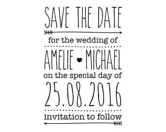 "Wedding Invitation Stamp, Custom Wedding Stamp, Personalised Save The Date Stamp, Wedding Invitations, Wedding Announcement, 2""x3"" (cstd61)"