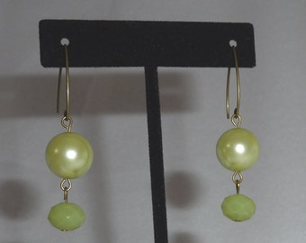 Soft Green Colored Pearl Earrings