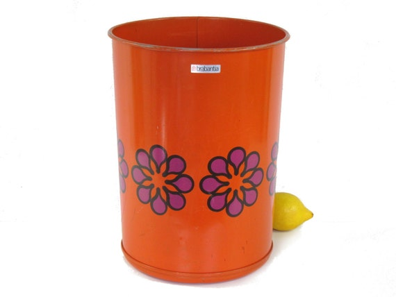 Vintage wastebasket brabantia orange pink flowers by for Pink bathroom bin