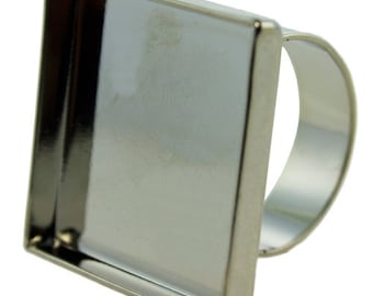 """Square Bezel Ring 15/16""""x15/16"""" ID Silver Color  (3000SC-52)"""