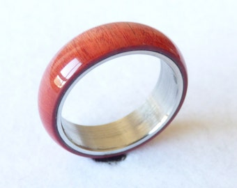 stainless steel and pink ivory ring
