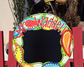 Paisley Circle Door Hanger, Teacher Door Hanger, Teacher Appreciation, Classroom Door Hanger, Chalkboard