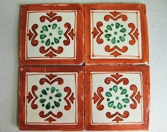 Talavera Vintage Decorative Tile in Terracotta/Green in 4x4 & Bullnose (Shipping Included)
