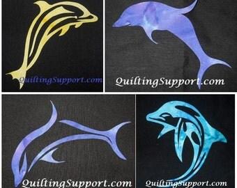 4 Dolphin Quilt Applique Patterns (Set of 4)