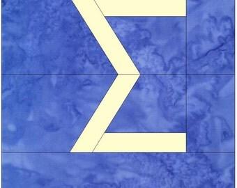 Sigma Greek Letter Alphabet Paper Piece Foundation Quilting Block Pattern