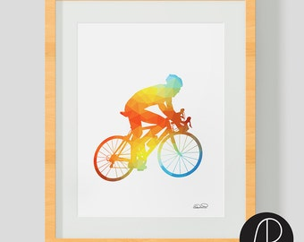 Gift for cyclist. Cycling collection art. Road bike design