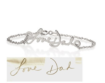 Memorial Signature Bracelet - Personalized Handwriting Bracelet Keepsake Jewelry in Sterling Silver