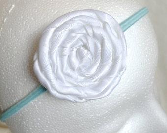 White Rolled Rose- Aqua Elastic Headband