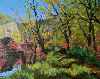 original oil painting landscape painting oil painting original art wall framed painting fall landscape autumn landscape bright colored art