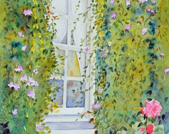 Watercolor painting original window fine art painting original paintings gift ideas California original watercolor roses landscape garden