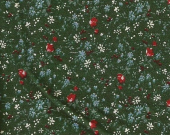 Dark Green Floral Print Cotton Fabric / 1 yard 15 inches