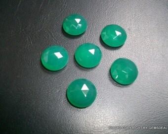 11mm Green Onyx Rose cut Round Gemstone, Natural GREEN ONYX round Rose cut AAA quality beautiful green color, Green Onyx Rosecut Gemstone