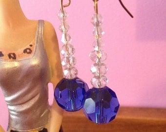 Sapphire Blue Facet Crystal Earrings