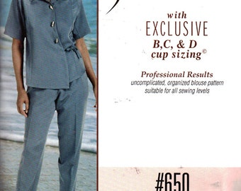 Silhouettes 650 Sewing Pattern Misses Blouse by Peggy Sagers  Size:  1-4 & 5W-8W  Uncut