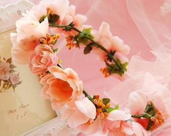 Pale Pink flowers Crown hair wreath flower crown bridal hair piece floral crown wedding accessories Bridal Floral hair wreath Flower girl