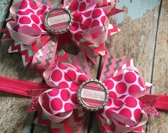 CUSTOM Name Girly Dainty Stacked Twisted OTT Boutique Bow