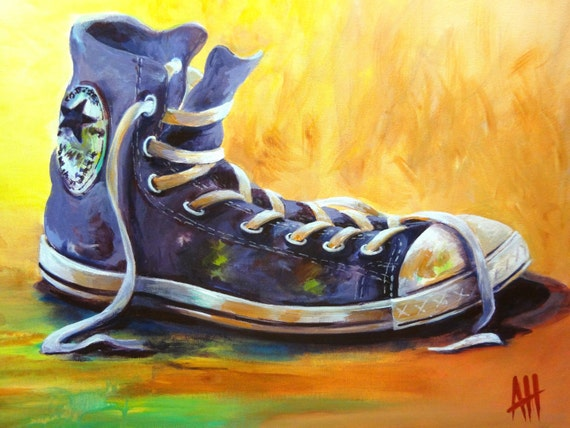 items similar to purple whimsical sneaker painting
