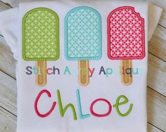 Summer Popsicle Trio Machine Applique Design