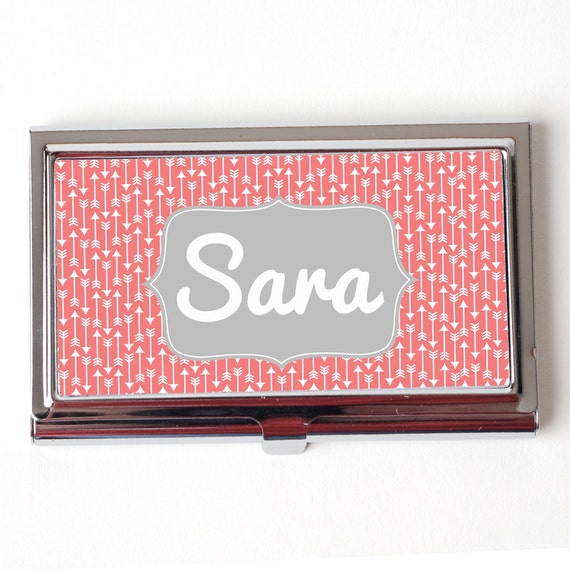 Personalized Business Card Case Coral fice party by