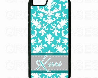 Personalized iPhone 6 6S 6 Plus or 6S Plus Case Rubber Blue Gray Damask