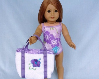 Hibiscus Flower Bathing Suit and Beach Bag for American Girl/18 Inch Doll