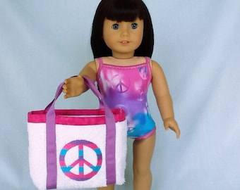Peace Sign Bathing Suit and Beach Bag for American Girl/18 Inch Doll