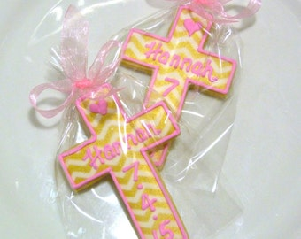 Cross Christening Cookie Gourmet Custom Decorated Sugar Cookie Favor Crucifix Baptism Cookie Holy Communion Cookie