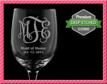 Personalized Wine Glasses, Monogram, Bridemaids Gifts, Set of 8+, FREE SHIPPING