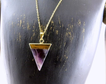 Amethyst necklace, Amethyst point necklace, Triangle amethyst necklace,amethyst necklace, 14k gold filled chain, geometric necklace